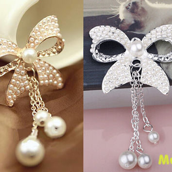 1 Pc Luxury Bling Crystal Fancy Alloy Pearl Bowknot Tassel Accessories Charm Kawaii Cabochon Deco Den on Craft Phone Case DIY Deco AA1270