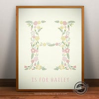 Custom Name Hailey print- Letter H Monogram Nursery Art, Alphabet H, Personalized Name, Initial Print, Baby Boy, Baby Girl, Initial, Nursery