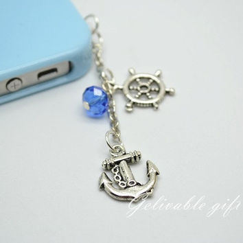 Pirate iPhone 5 4S 4 charm,3.5mm dust proof plug with rudder and anchor and sea blue crystal charms,fit for samsung Blackberry HTC PSRA03