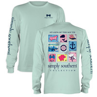 Simply Southern Preppy Stamps Anchor Bow Mason Jar Long Sleeve T-Shirt