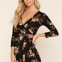 Faux-Wrap Floral Dress