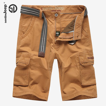 Military Army Multi-pockets Beach Short Pants Casual Men Cotton Shorts Office Mid Waist Cotton Cargo Loose Shorts