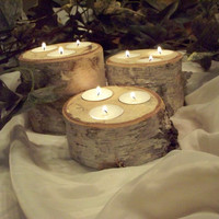 White birch three tealight candle holders set of three,Wedding table centerpiece decor