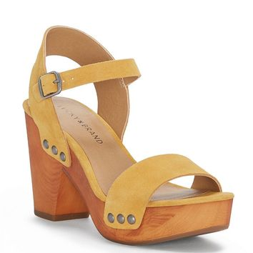 Lucky Brand Trisa Oiled Suede Nail Stud Detail Platform Block Heel Dress Sandals | Dillards
