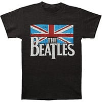 Beatles Men's  Distressed British Flag T-shirt Grey