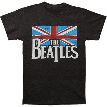 Beatles Men's  Distressed British Flag T-shirt Grey Rockabilia