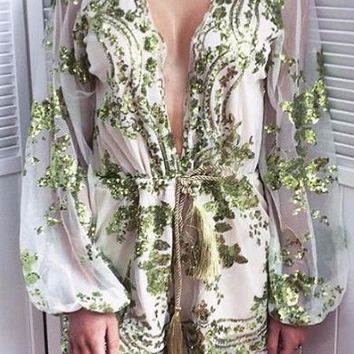 Gold sequined skirt flowers mesh jumpsuit with waist rope