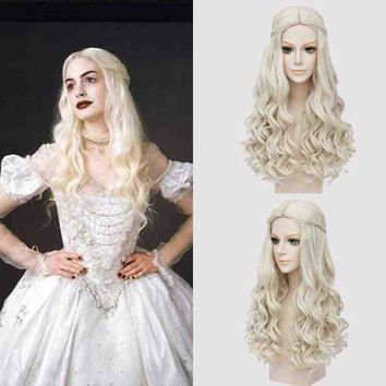 Alice In Wonderland 2 The White Queen Cosplay Wig Blonde Synthetic Hair Long Curly Wavy Alice Brown Wigs Halloween Party Costume