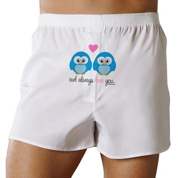 Owl Always Love You - Blue Owls Front Print Boxers Shorts by TooLoud