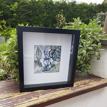 HARE TEXTILES ART- free motion machine embroidery- Mother & Daughter-emboridery framed work-sewing artwork-textiles picture-college textiles