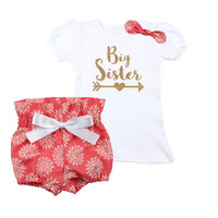 Big Sister outfit | Blush with White Flowers, Gold Big Sister with Arrow Outfit | High Waisted Bloomers and Knotted Headband