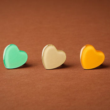 Big Glossy Heart Ring, Adjustable Antique Bronze, Pick Your Color