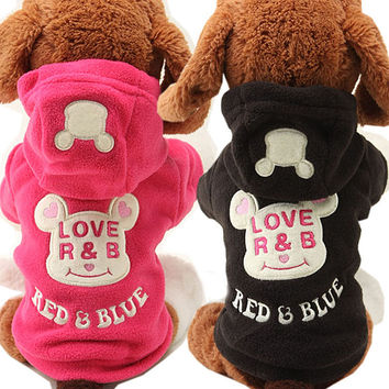 New Fleece Puppy Dog Coat Cat Pet Clothes Cute Bear Costume Warm Autumn Yorkie Chihuahua Hoodie Clothing for Dogs Teddy 25