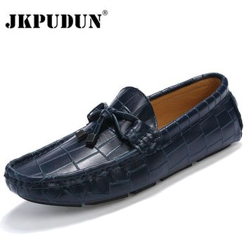 JKPUDUN Crocodile Leather Men Loafers Casual Moccasins Designer Italian Shoes Men Espa