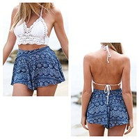 Anself Sexy Women Crop Top Lace Bralette Knitted Bra Boho Beach Bikini