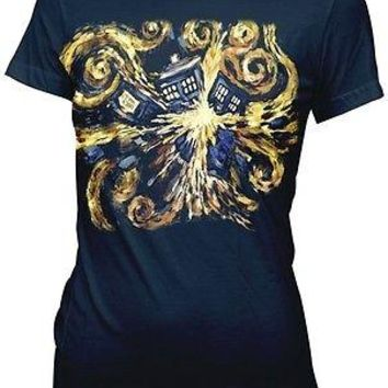 Doctor Who Van Gogh Pandoric Open Dr. BBC Sci Fi TV Womens Cotton Fitted T Shirt