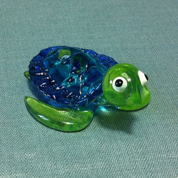 Hand Blown Glass Funny Tiny Turtle Reptile Sea Animal Cute Green Blue Figurine Statue Decoration Collectible Small Craft Hand Painted Decor