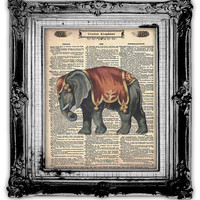 Upcycled Vintage Dictionary Book Page Art Circus Elephant