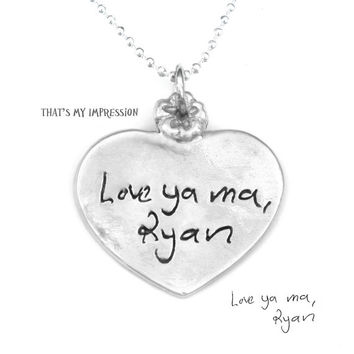 Whimsical Sterling Silver Heart Pendant, Handwriting Jewelry, Memorial Jewelry, Anniversary Gifts for Her, Sentimental Gifts