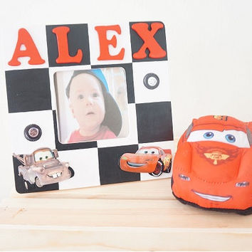 Personalized Hand Painted Disney Cars Wooden Picture Frame Lightning McQueen Mater Checkered Race Car