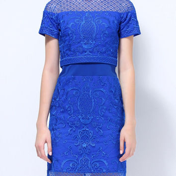 Blue Short Sleeve Mesh Embroidered Mini Pencil Dress
