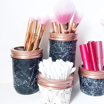 Marble effect mason jar, marble bathroom decor, Bathroom accessories, Storage jars, marble makeup brush holder, housewarming gift, teen girl
