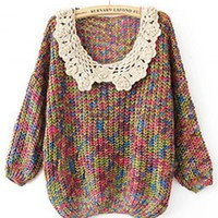 Round Neck Deep lace long sleeve casual pullover   style zz10080604 in