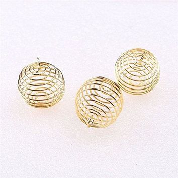 Spiral Bead  Cage Pendants (Gold) 20 pieces 25mm x 30mm by The Oily Essentials Pure Living Co