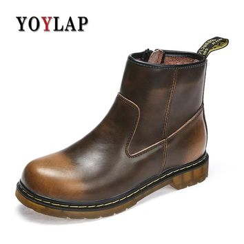 Working Safety Boots Red Wine Mens Dr. Martens Boots High Top Autumn Footwear Casual Men Shoes Top Doc Dr Martins Cow Leather