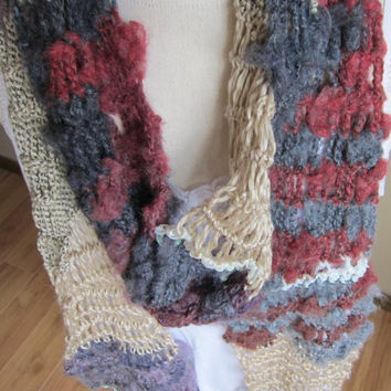 Crochet Scarf,Boho Scarf made with Red Heart Boutique Magical Yarn in Crystal Ball Beautiful and Unique Yarn