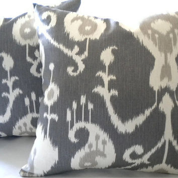 Decorative Accent Pillow cover, Ikat -Decorative Designer Print removable cover - Grey and Ivory 20""