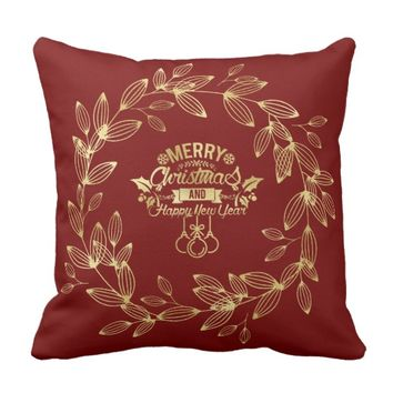 Gold Foil Christmas Ornaments & Wreath Throw Pillow