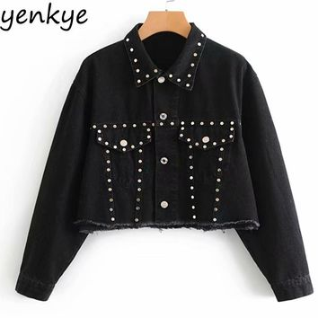 Women Fashion Rivet Black Denim Jacket Female Flowy Long Sleeve Turn-down Collar Vintage Oversized Cropped Coat Autumn Jackets
