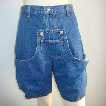 vintage SAGWEAR BIB POCKETS high waist women denim jeans shorts 26 inch waist