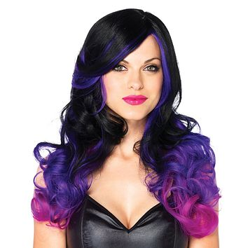 Allure Ombre Purple Black Wavy Long Hair Wig