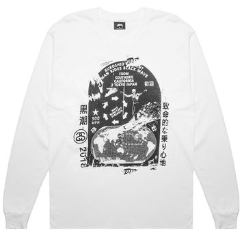 Stussy - Black Wave L/S T-Shirt (White)