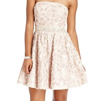 As U Wish Juniors Dress, Strapless Rosette Beaded A-Line - Juniors Dresses - Macy's