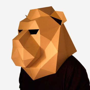 Make your own Lion Mask, Animal Head,Instant Pdf download, DIY Paper Mask, 3D Polygon Masks, Printable Mask