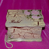 Elegant Jewelry Box Wood Jewelry Chest Organizer Shabby Chic Hand Painted Gold