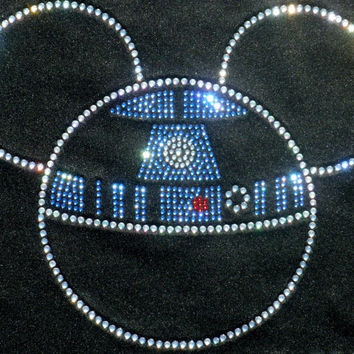 "7.3"" Crystal clear Star Wars Mickey as R2D2 iron on rhinestone transfer"