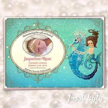 Mermaid Baby Girl Birth Announcement - Brunette merbaby on seahorse design - custom made digital file to print yourself