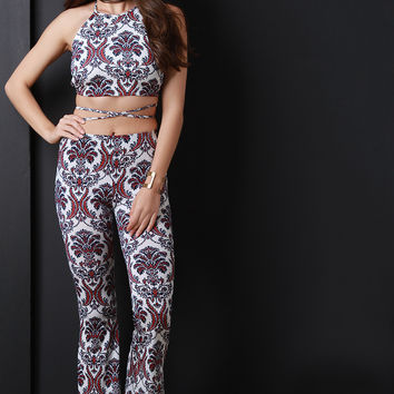 Jacquard Print Flared Pants