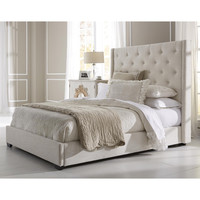 Wingback Button Tufted Cream Queen Size Upholstered Bed | Overstock.com Shopping - The Best Deals on Beds