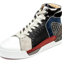 Wiberlux Christian Louboutin Men's Stud Detailed Multicolored High Top Sneakers