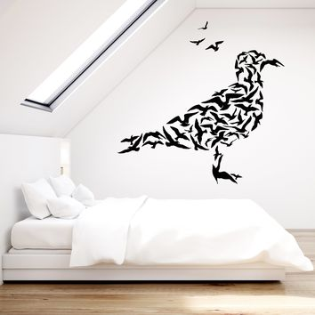 Vinyl Wall Decal Abstract Gulls Flock of Birds Animals Seagull Stickers (2335ig)