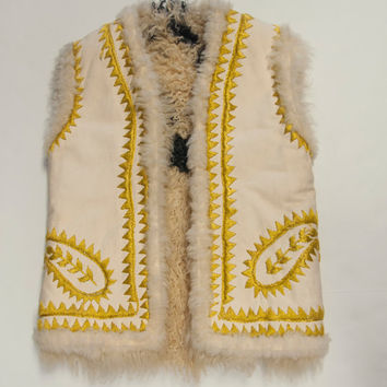 RARE 70s Embroidered Shaggy Fur Vest Shearling Suede Wool Waistcoat | Sheepskin Penny Lane Lambskin Sleeveless Coat Reversible Suede Vest