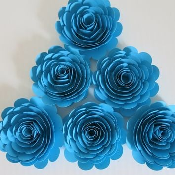 "Set of 6 Big Aqua Blue Roses, Boy Baby Shower Table Centerpiece Decor, 3"" Paper Flowers, Pool Theme Birthday Party Decorations"