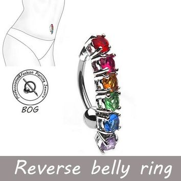 Reverse Belly Button Ring Rainbow 6 CZ gem Prong Set 14 Gauge