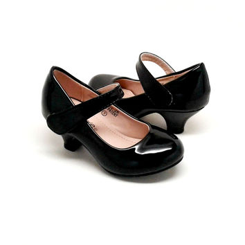 Girl's Shiny Black Heels with Hook and Loop Closure