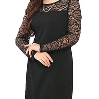 Plus Size Women Lace Patchwork Hollow Out Straight Dress